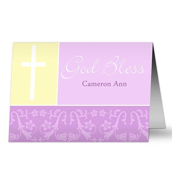 Personalized New Baby Greeting Cards - God Bless - 10826