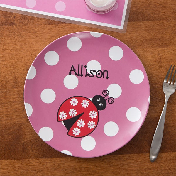 Personalized Girls Plate & Bowl Dinner Set - Ladybug - 10862D