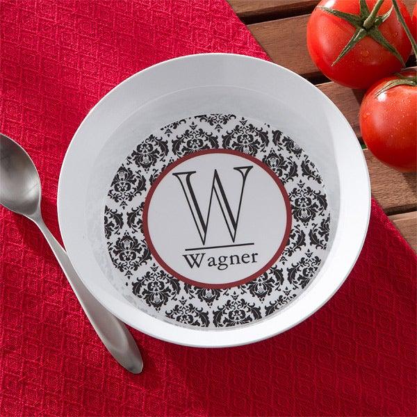 Personalized Melamine Dinnerware Set - Damask Family Name & Initial - 10864D