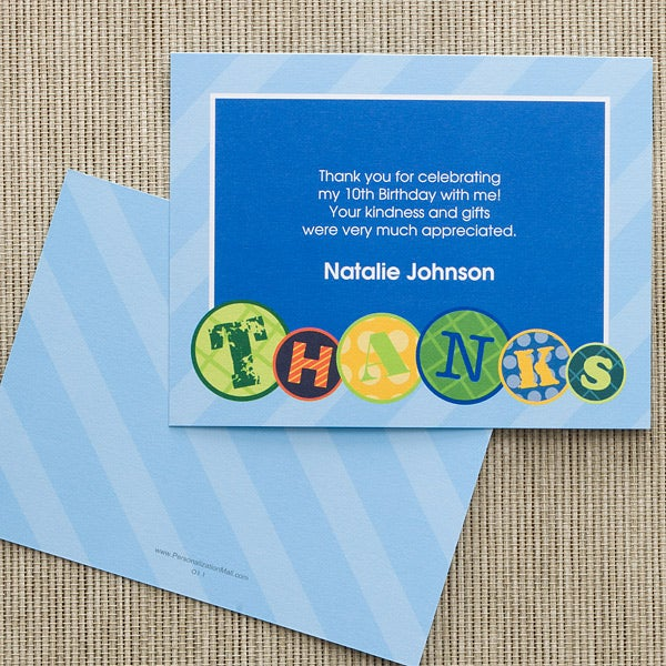 Personalized Kids Birthday Party Thank You Note Cards