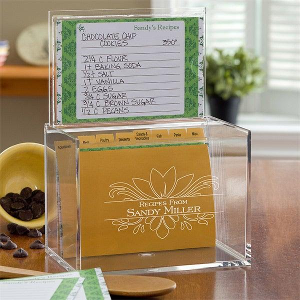 Acrylic Personalized Recipe Box - Damask - 10945