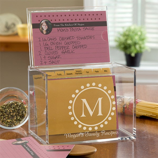 Personalized Monogram Recipe Box 4x6 Acrylic