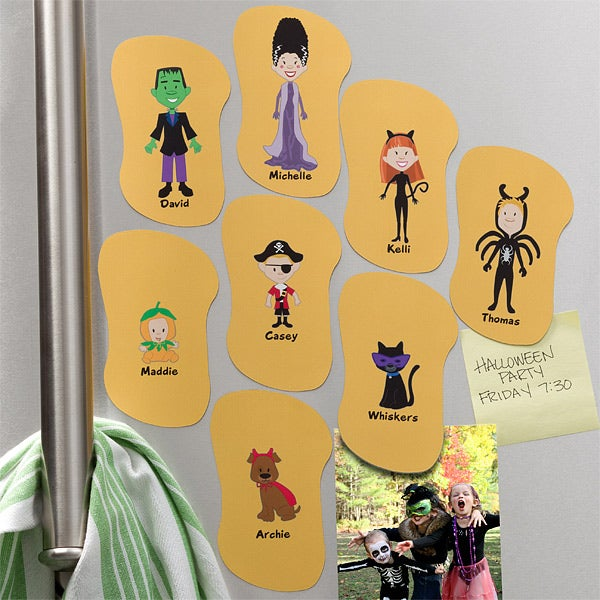 Personalized Halloween Refrigerator Magnets - Halloween Family Characters - 10948