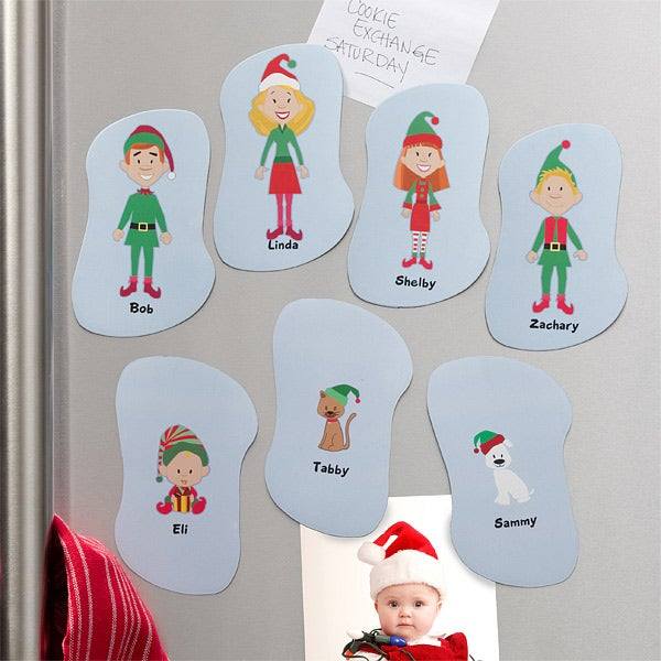 Personalized Christmas Refrigerator Magnets - Christmas Elf Family - 10949