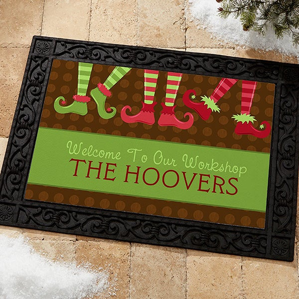 Personalized Holiday Doormats - Christmas Elves Workshop - 10955