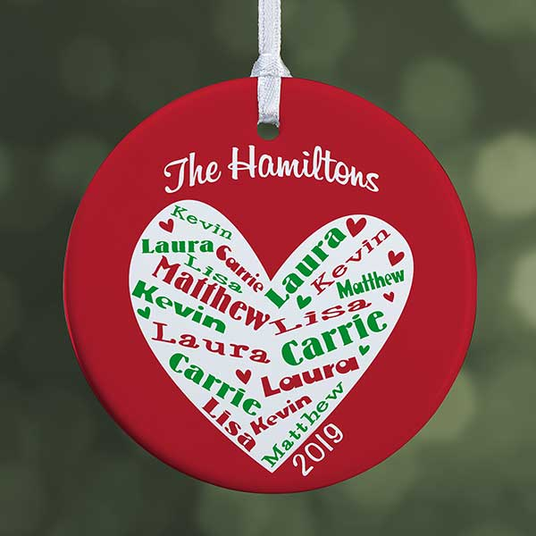 Personalized Christmas Ornament.Personalized Christmas Ornaments Heart Of Love 1 Sided