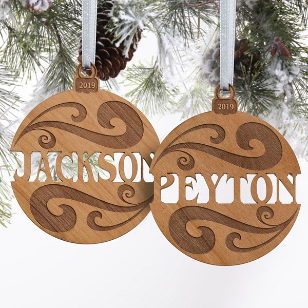 Personalized Natural Wood Name Ornament