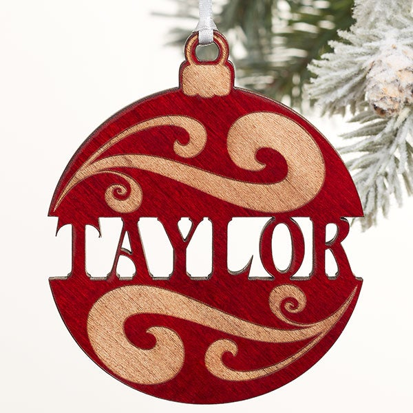 Personalized Red Wood Name Ornament