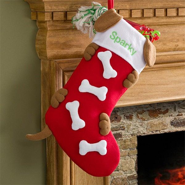Dog Bone Christmas Stocking.Love Them Bones Embroidered Dog Stocking