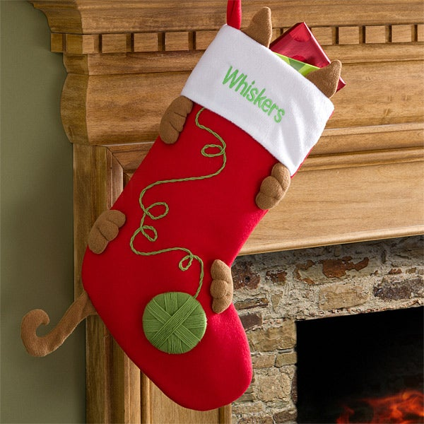 Cat Christmas Stockings.Love My Kitty Embroidered Cat Stocking