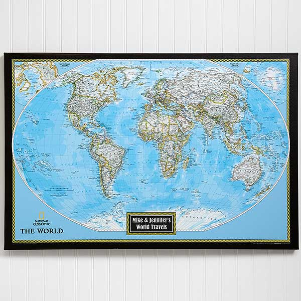 Personalized 24x36 World Map from National Geographic - Office Gifts
