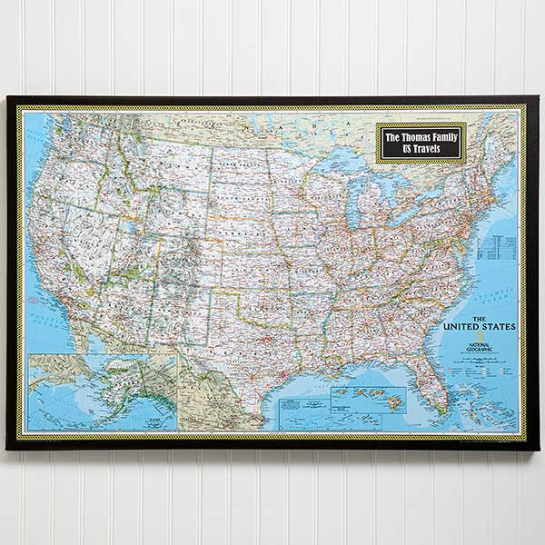 Personalized 24x36 United States Map From National Geographic - National-geographic-us-map