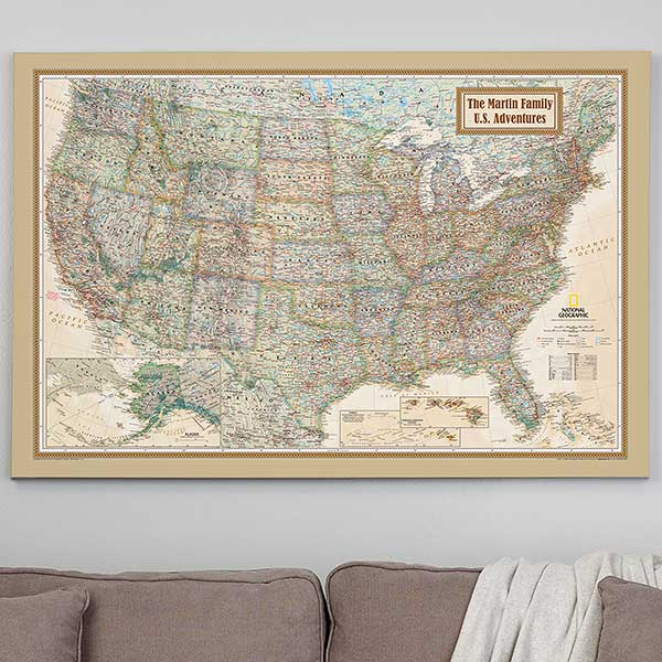 Personalized 32x48 National Geographic Us Canvas Map Office Gifts - National-geographic-us-map