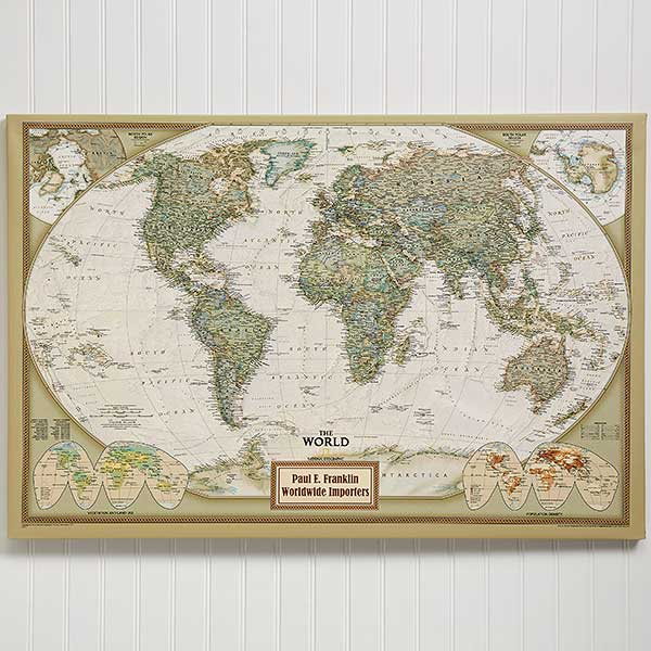 Canvas Map Of The World Personalized 24x36 National Geographic World Canvas Map   Office Gifts