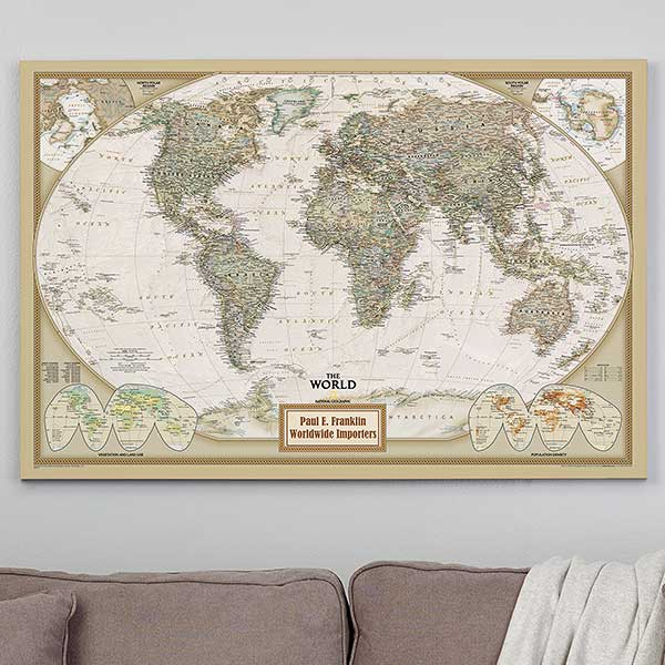 Personalized 28x42 National Geographic World Canvas Map on earth map canvas, old world map canvas, map wall art, ikea world map canvas, united states map canvas,