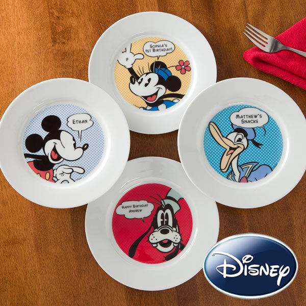 Personalized Disney Plates - Mickey Mouse, Minnie Mouse, Donald Duck, Goofy - 11196
