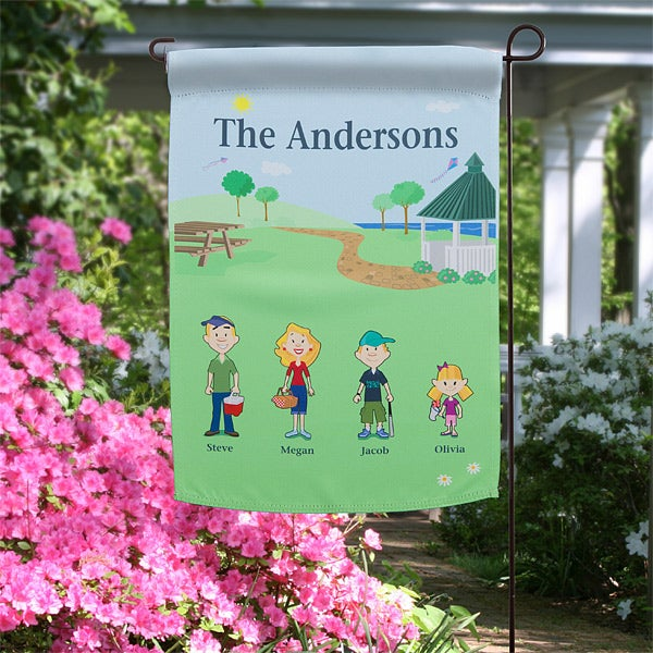 Personalized Garden Flags - Spring Family Characters - 11228