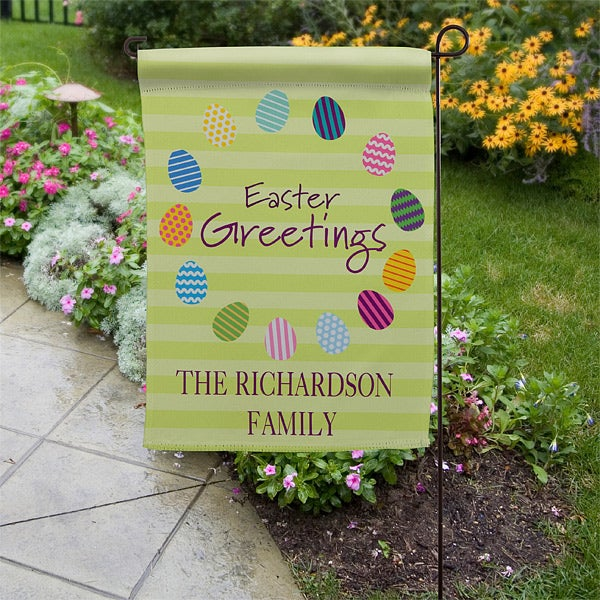 Personalized Garden Flags - Easter Eggs - 11311