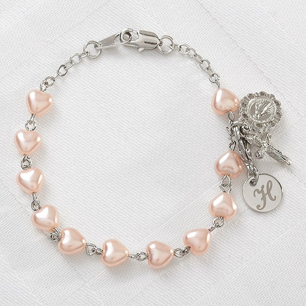 Personalized Heart Rosary Bracelet - 11361