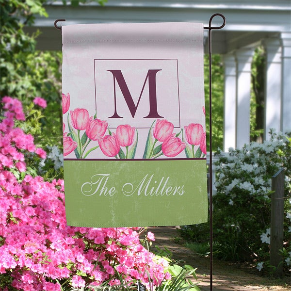 Personalized Garden Flags Spring Tulips Monogram