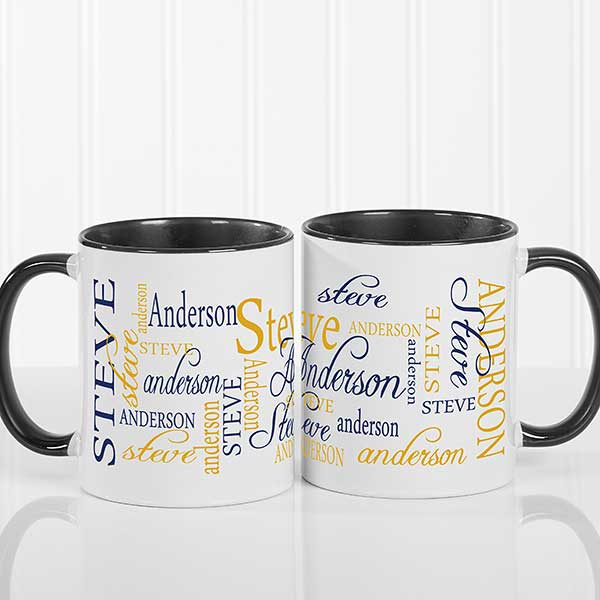 07d4b9c6044 Personalized Coffee Mugs - Black Handle - Signature Style