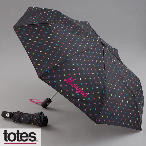 Personalized Umbrellas - Black Polka Dots - 11582