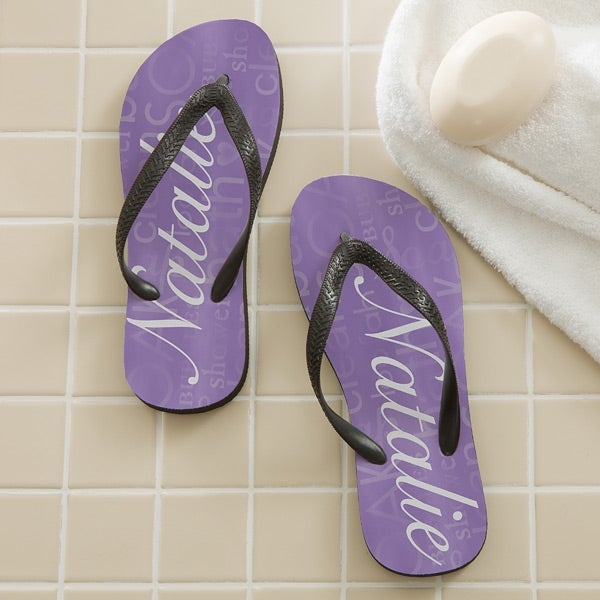 e03ae90d2 Personalized Ladies Flip Flops - Purple - 11617