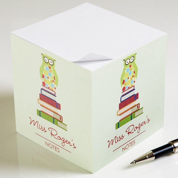 Personalized Teacher Note Pad Cube - Wise Owl - 11633