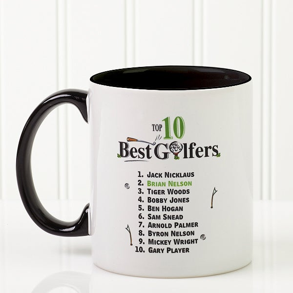 Personalized Golf Coffee Mugs - Top 10 Golfers - 11658