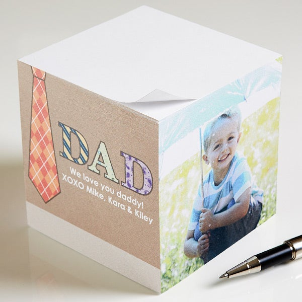 Personalized Photo Note Pad Cube - For Dad - 11729
