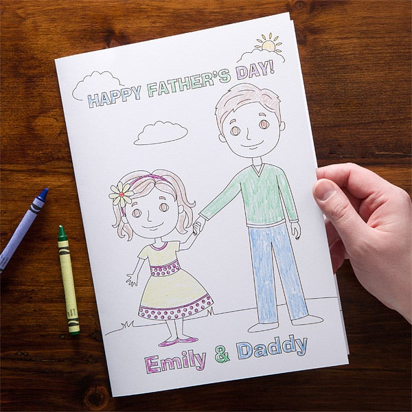 Personalized Father's Day Cards - Daddy & Me Coloring Card - 11731
