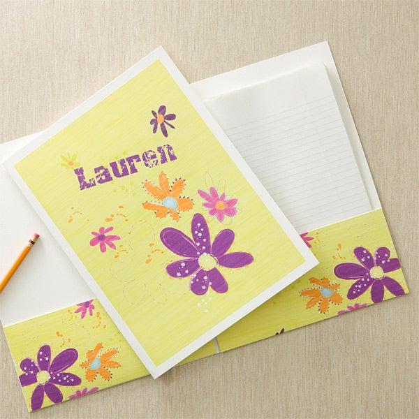Personalized Girls Folders - Flowers - 11834
