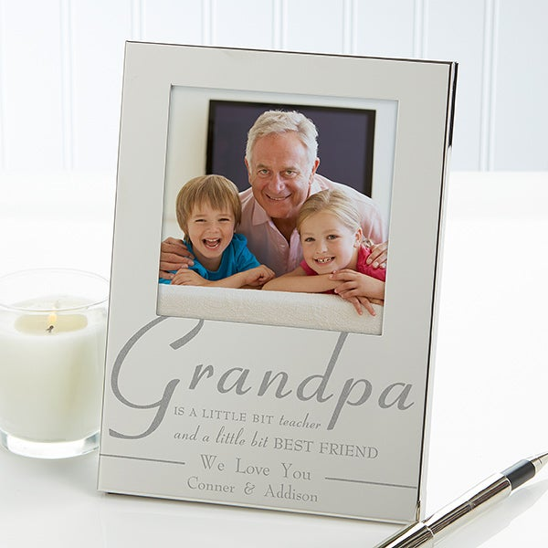 Engraved Silver Picture Frames - For My Grandpa - 11859