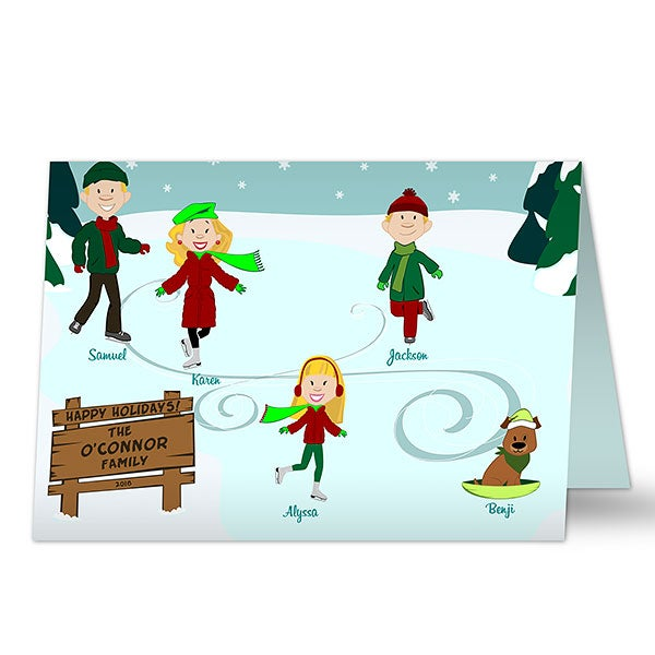 Personalized Christmas Cards - Ice Skating Family - 11944