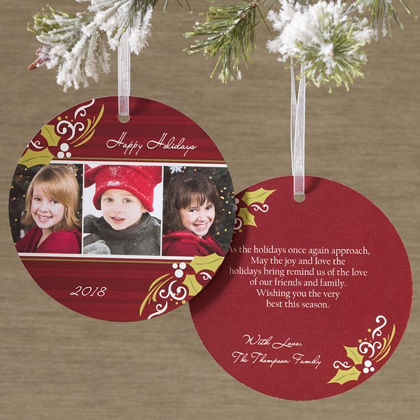 Personalized Photo Ornament Christmas Cards - Cheerful Holly