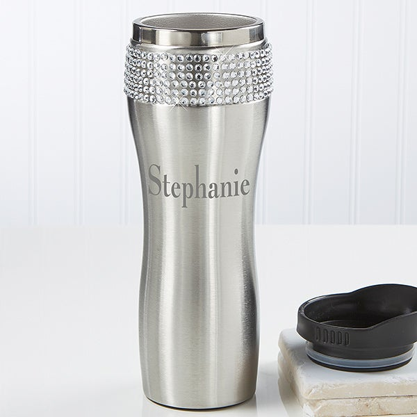 Personalized Stainless Steel Tumbler for Her - Rhinestones - 11988