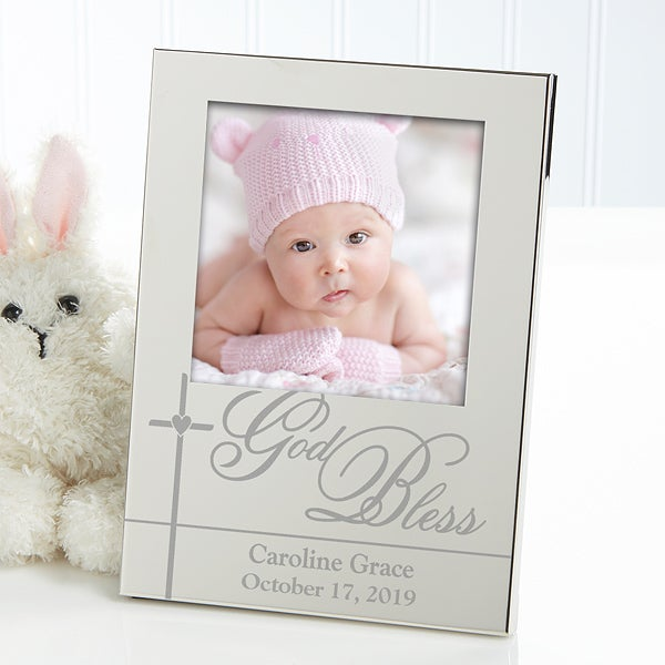 Engraved Silver Baby Picture Frames - God Bless Baby