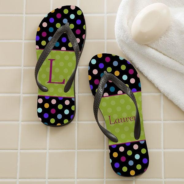 Personalized Flip Flop Sandals - Polka Dots - 12180