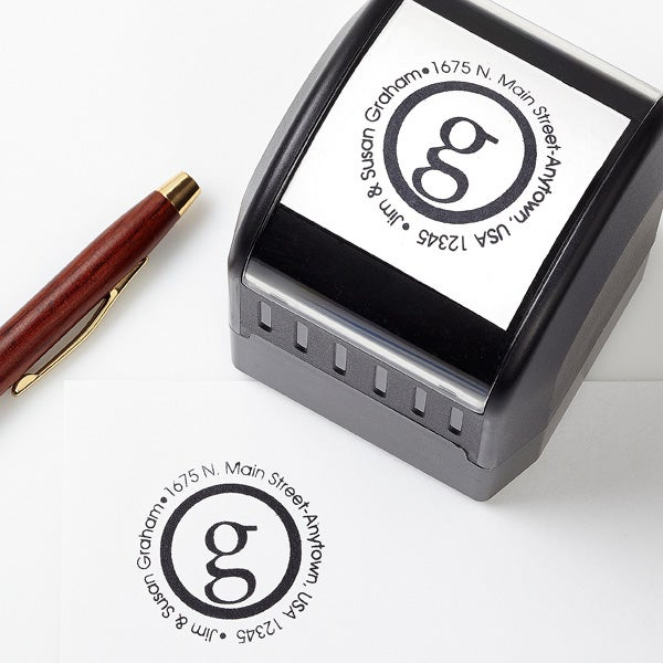 Personalized Self-Inking Address Stamp - Small Initial - 12222