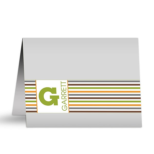 Personalized Note Cards - Stylish Stripes - 12238
