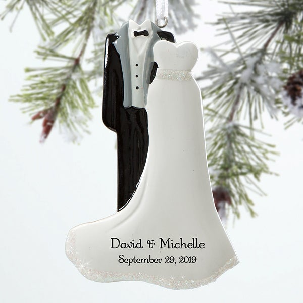 Personalized Wedding Christmas Ornaments - Mr & Mrs