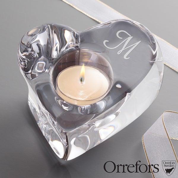 Engraved Monogram Crystal Heart Votive Candle Holder by Orrefors - 12302