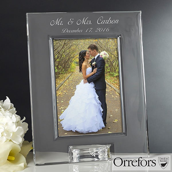 Wedding Engraved Photo Frames : 12306 - Orrefors Engraved Crystal Wedding Photo Frame - Full View
