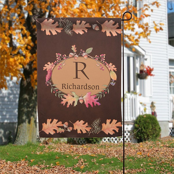 12308 Autumn Hues Monogram Personalized Garden Flag