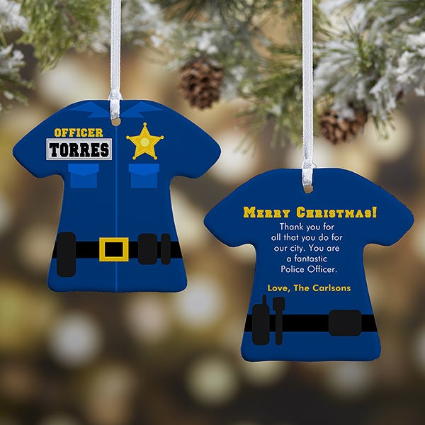 Police Christmas Ornaments.Personalized Christmas Ornaments Police Uniform 2 Sided