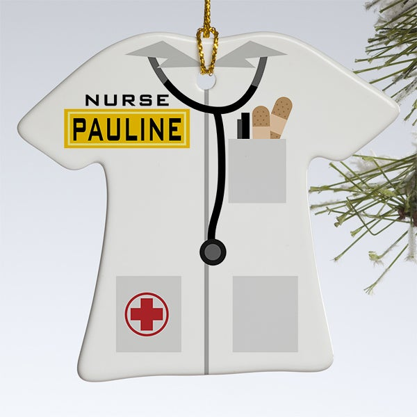 Medical Themed Christmas Ornaments : Medical uniform personalized ornament