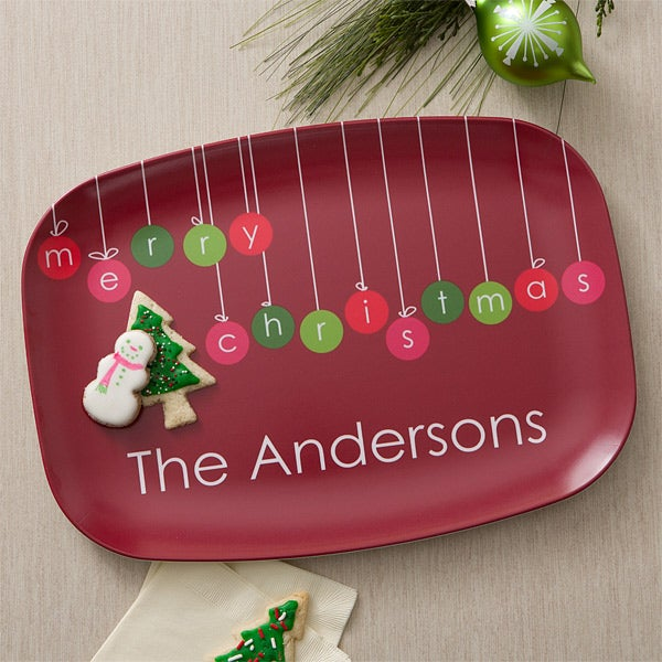 Personalized Christmas Platter - Christmas Ornaments Melamine Dish - 12386D