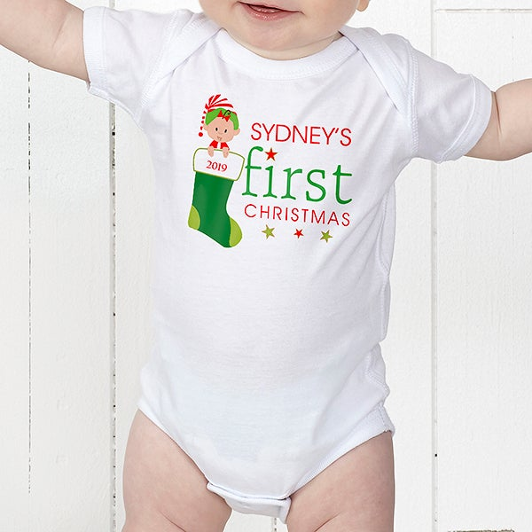 67a89a96c48a Personalized Baby s First Christmas Clothing
