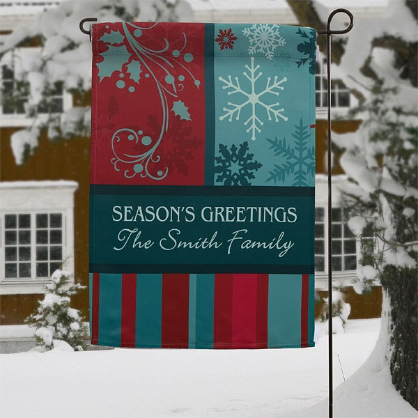 Personalized Christmas Garden Flags - Happy Holidays - 12408