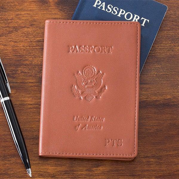34d622574da1 Personalized Leather Passport Cover - Tan